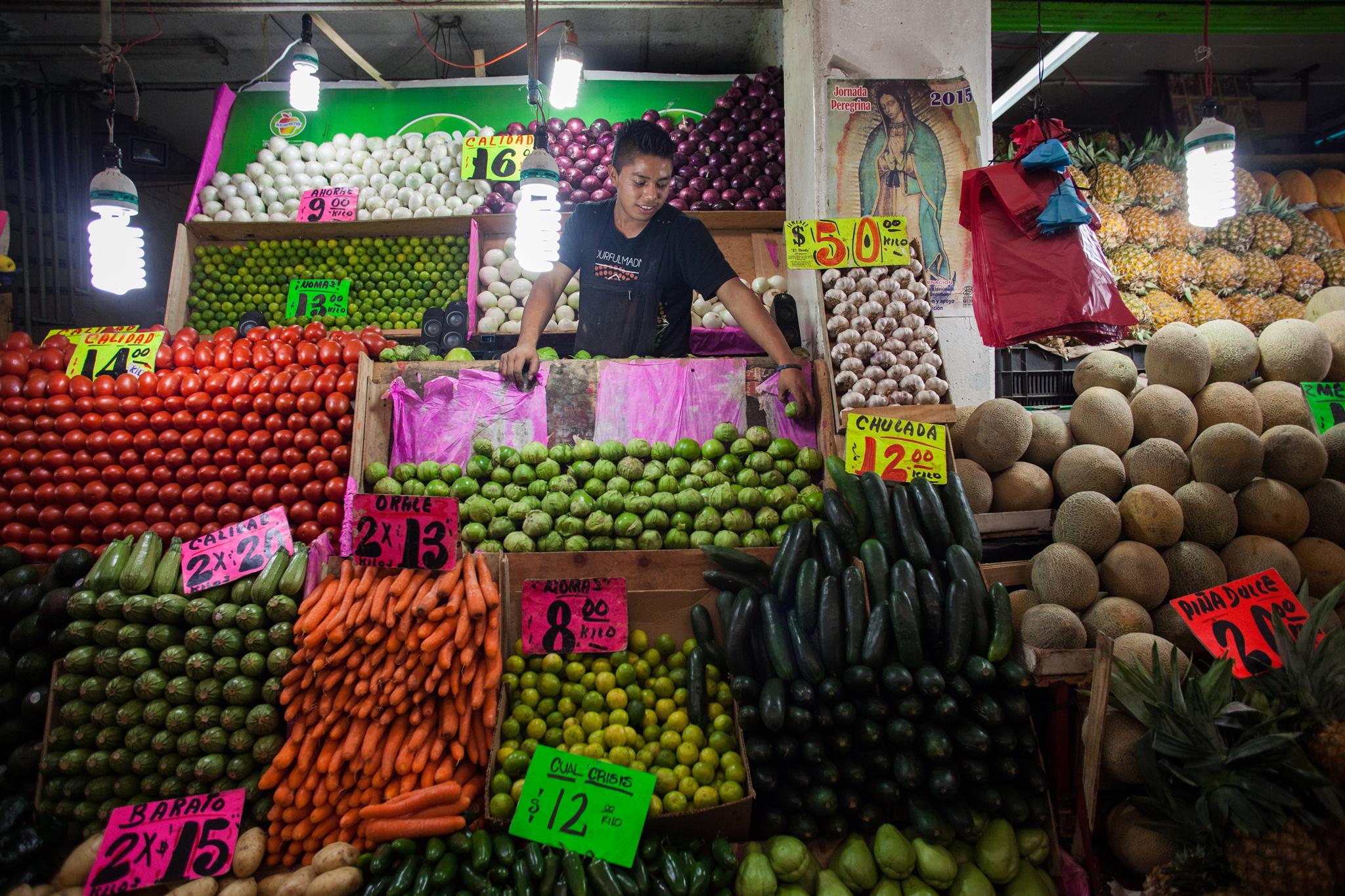 Mercados con productos saludables