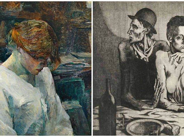 Izqda, 'La pelirroja con blusa blanca' de Toulouse-Lautrec; Dcha., 'La comida frugal' de Picasso