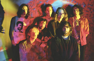 King Gizzard in colourful lighting