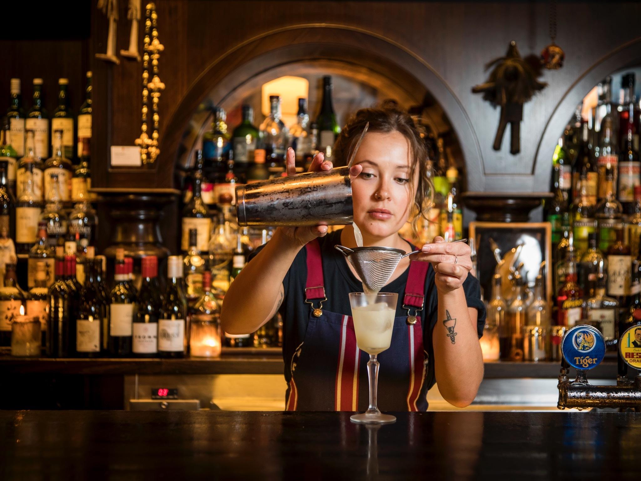 Female bartender at Earl's Juke Joint