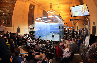 Watch squash stars compete inside a giant glass box at Grand Central this week