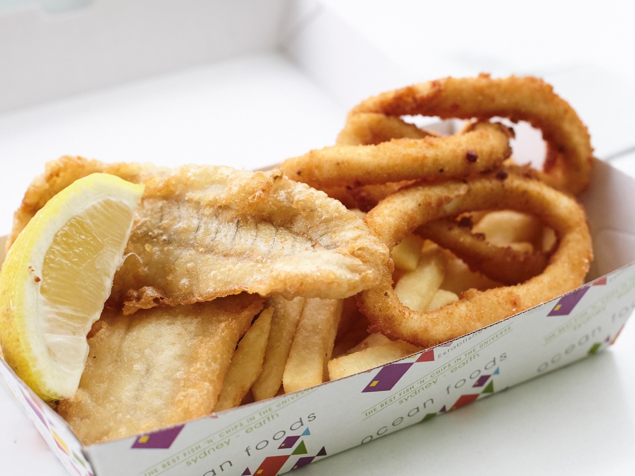 Fish and chips at Ocean Foods