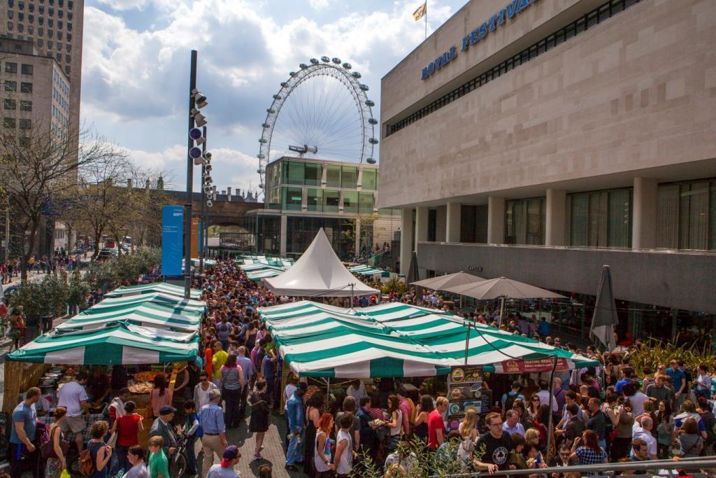 south bank restaurants, southbank centre market