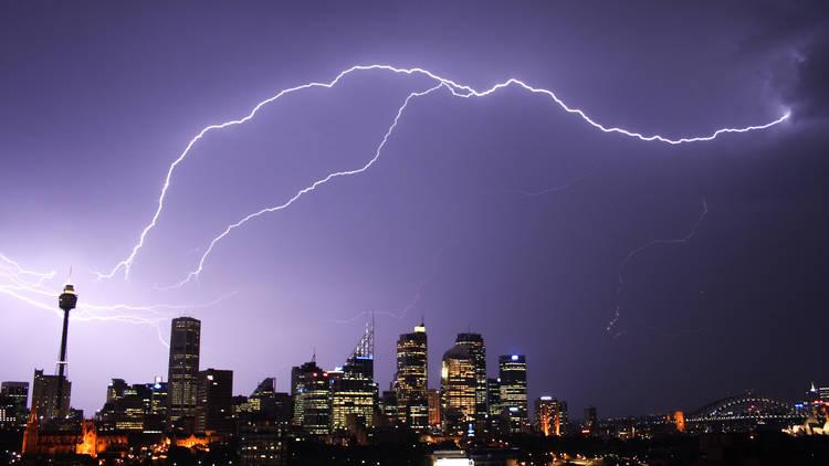 Sydney lightning storm skyline