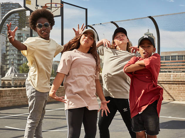 Kids doing hip hop dance poses