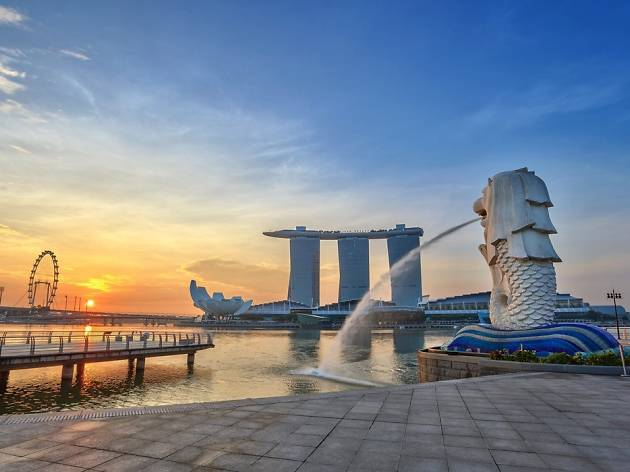 Marina Bay, sunrise, Merlion Park