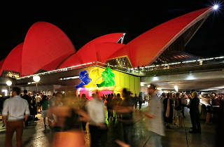 Monkey lanterns for Chinese New Year outside Sydney Opera House in 2016