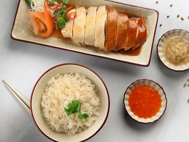 Yin yang chicken rice, $8.90