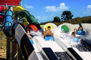 People on waterslides at Funfields