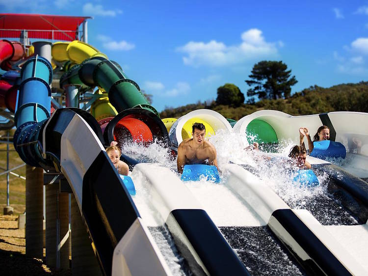 Ride the waterslides at Funfields
