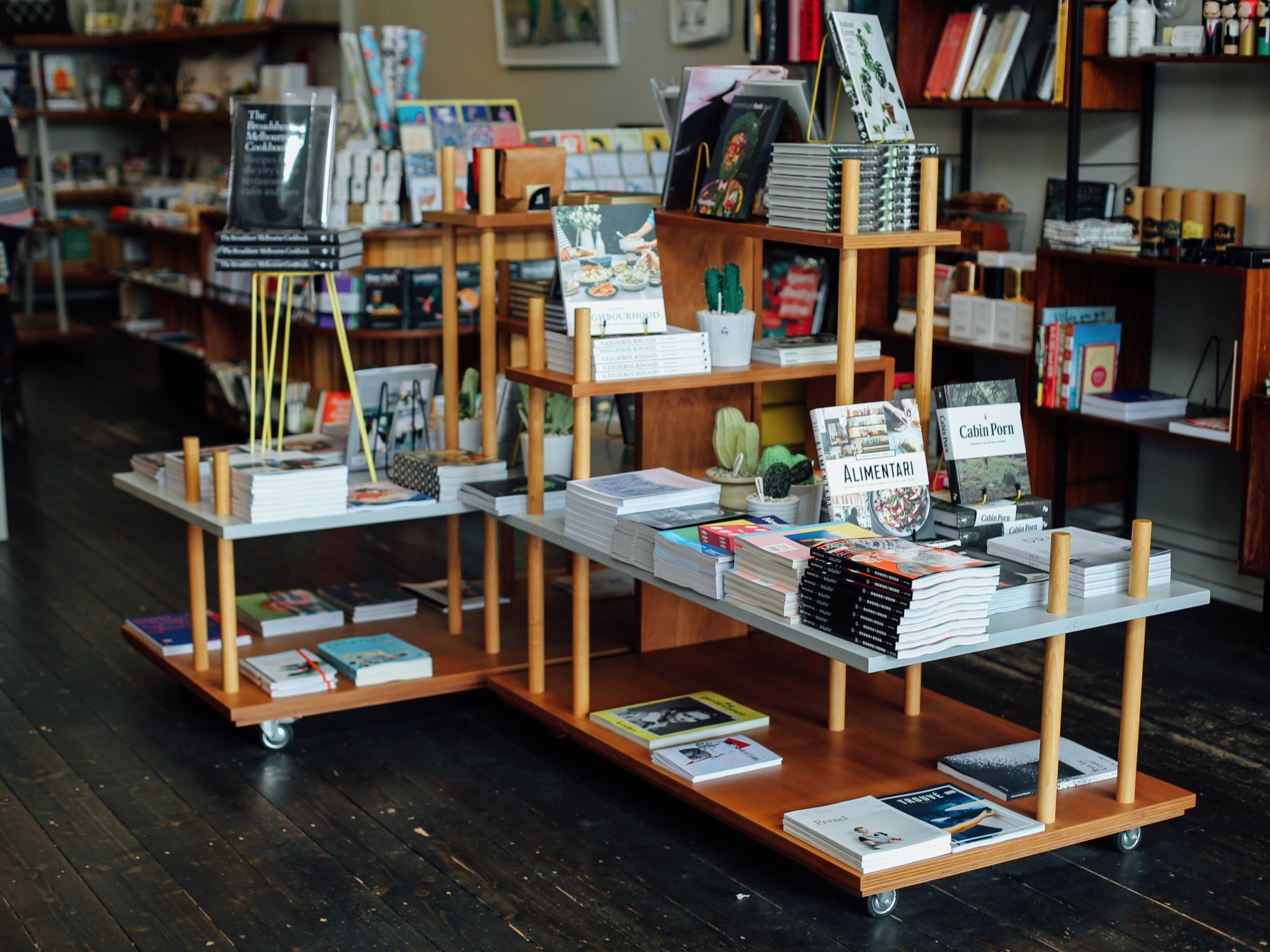 Book stands at Happy Valley Bookshop