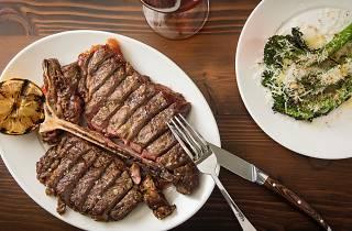 Steak and broccoli at Pino Vino e Cucina