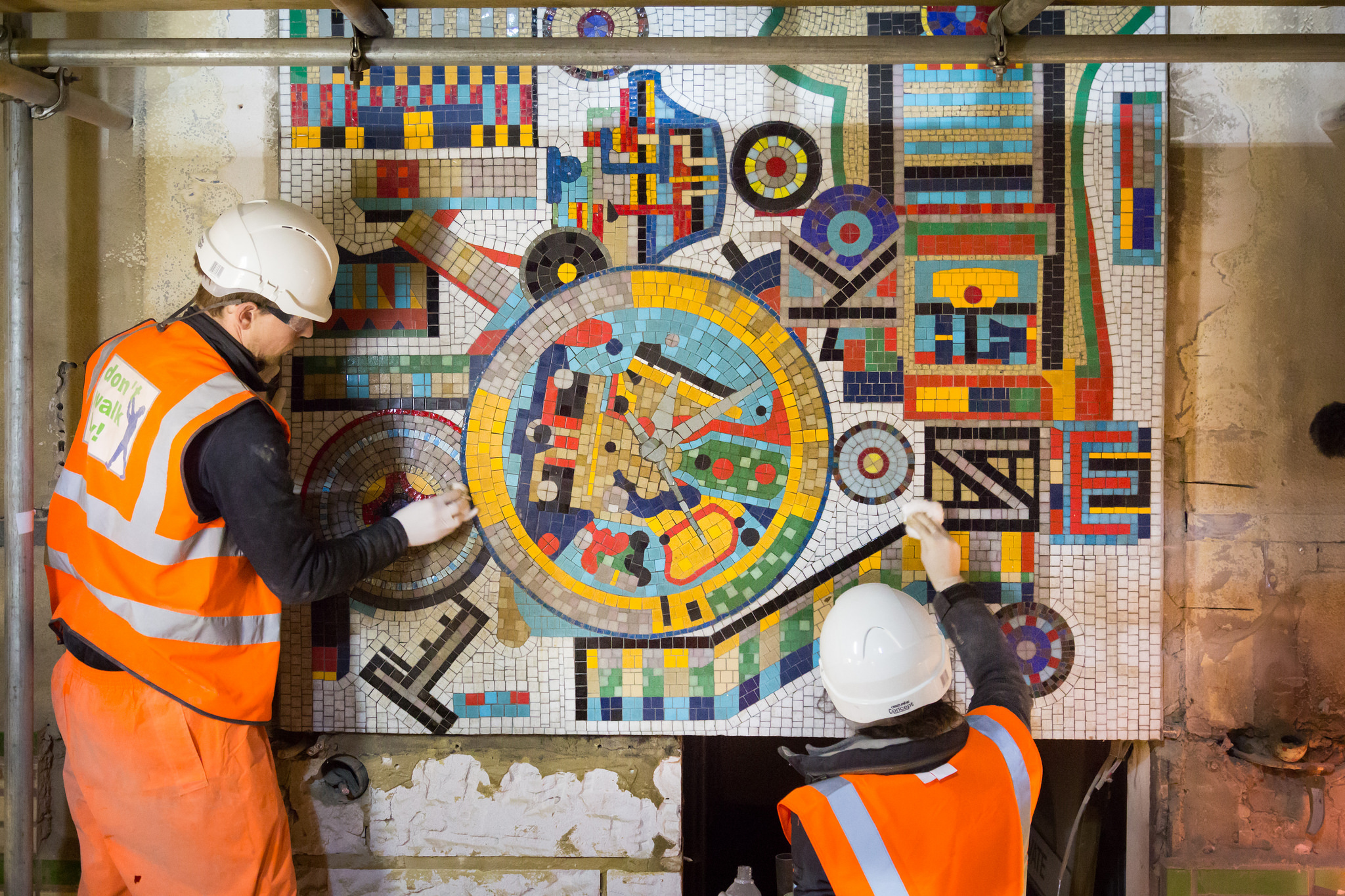 Restoring the Paolozzi mosaics at Tottenham Court Road