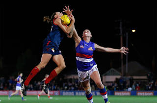 Chelsea Randall of the Demons flies for a mark during the 2016 Womens All Stars match between the Western Bulldogs and the Melbourne Demons at VU Whitten Oval on September 03, 2016 in Melbourne, Australia.