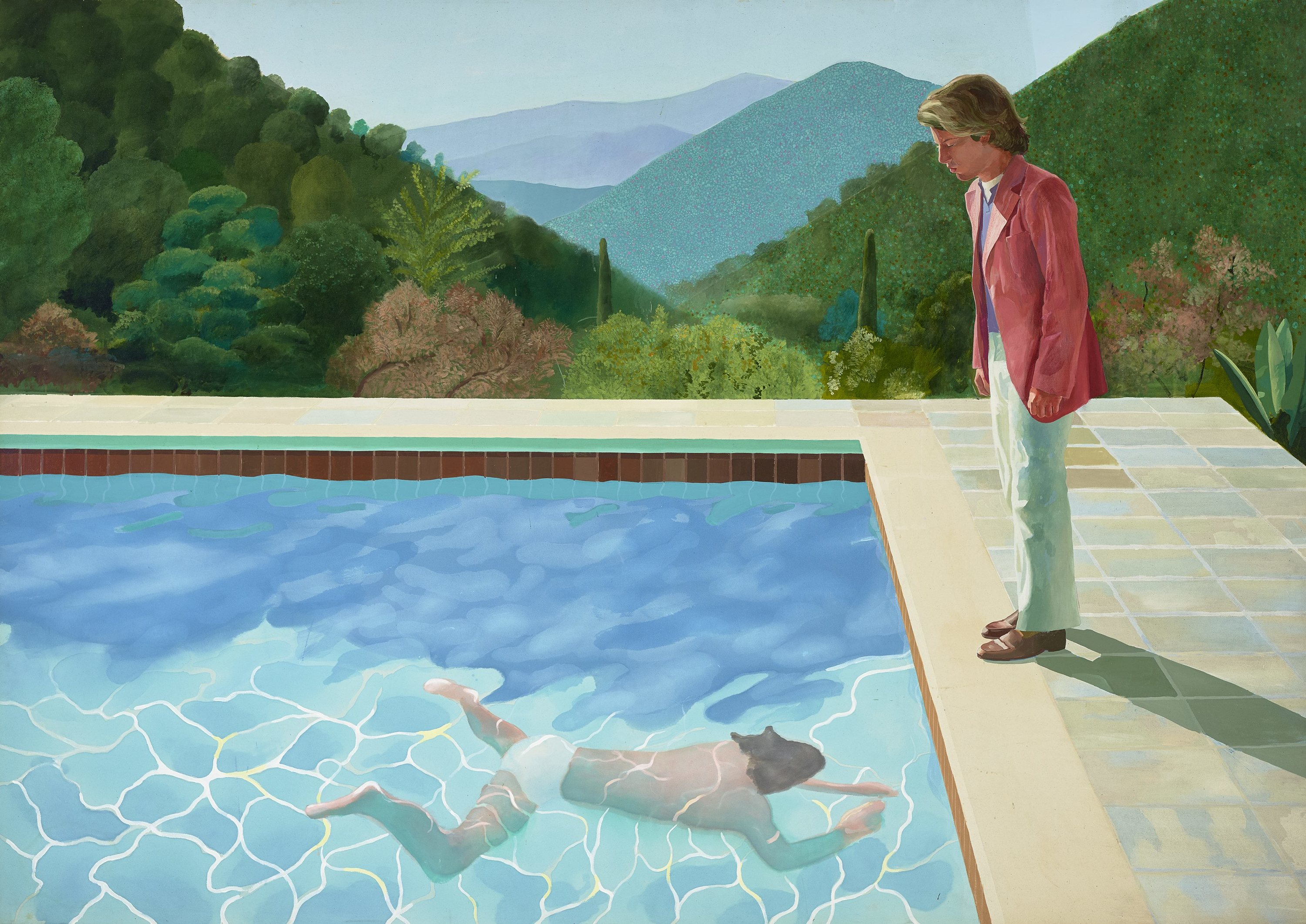 """PORTRAIT OF AN ARTIST (POOL WITH TWO FIGURES)"" 1972ACRYLIC ON CANVAS84 X 120""© DAVID HOCKNEYPHOTO CREDIT: ART GALLERY OF NEW SOUTH WALES/JENNI CARTER"