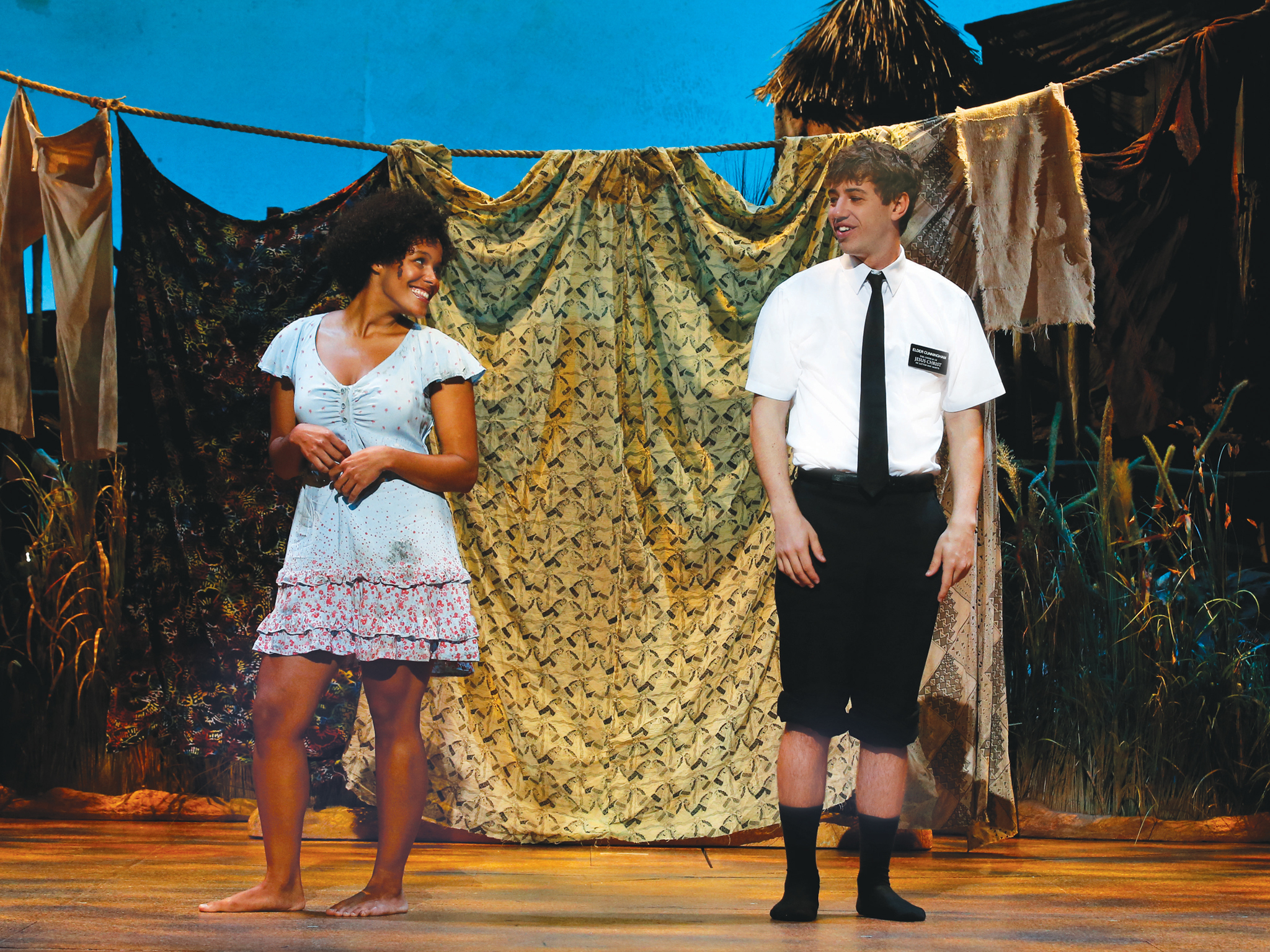 The Book of Mormon 2017 Princess Theatre Melbourne production still 04 feat Zahra Newman and A J Holmes RIGHT photographer credit Jeff Busby