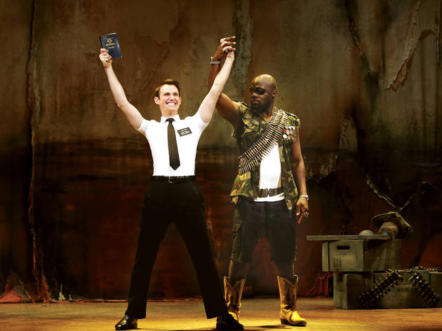 The Book of Mormon 2017 Princess Theatre Melbourne production still 05 feat Ryan Bondy and Augustin Aziz Tchantcho photographer credit Jeff Busby