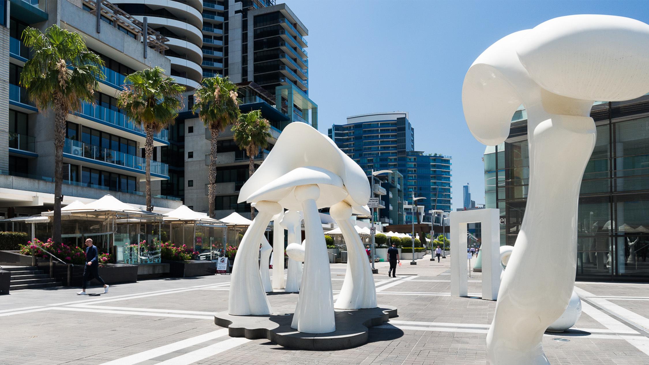 Docklands white sculptures