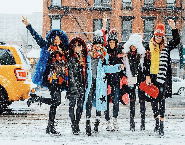 15 photos of women looking ridiculously stylish during a blizzard at NYFW
