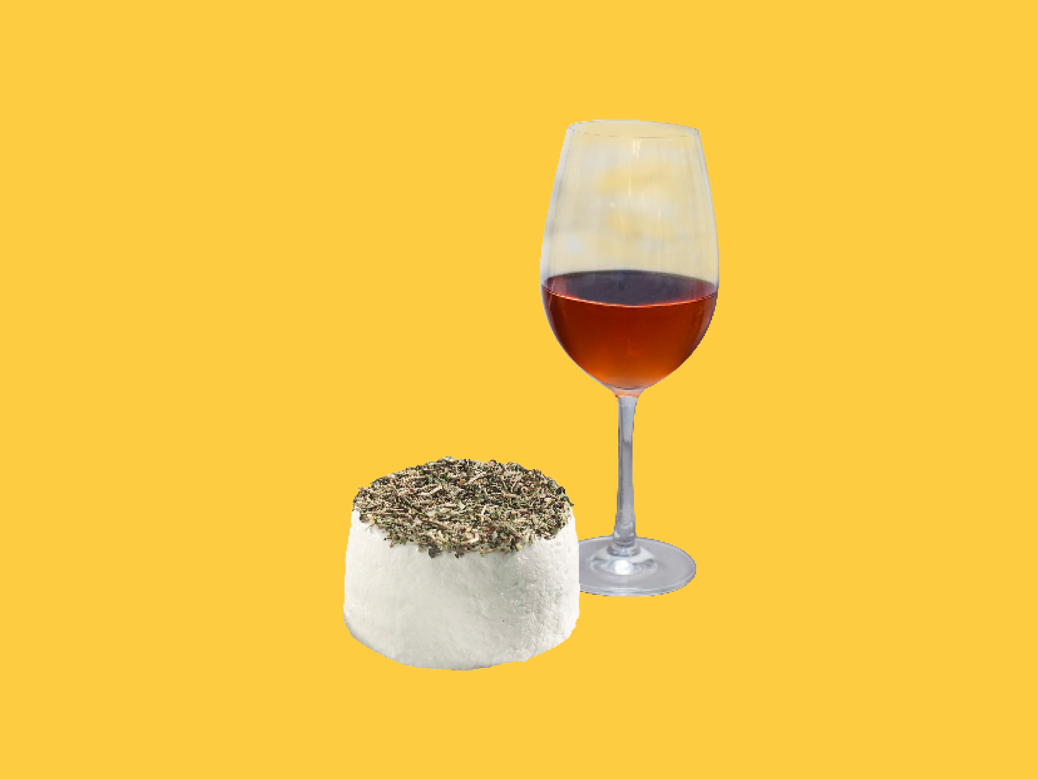 Herbal cheese and rosé