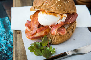 Bacon and Egg Roll at The Shop and Wine Bar