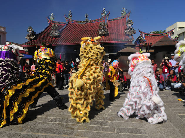 Catch the acrobatic lion dance during Chinese New Year