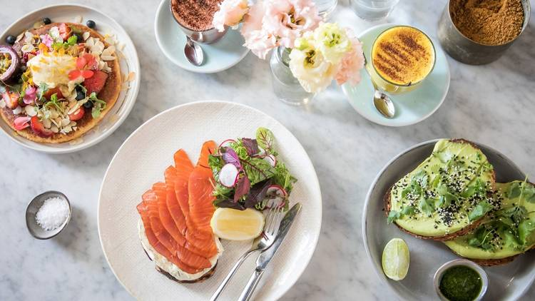 Food spread at Harry's Cafe Bondi