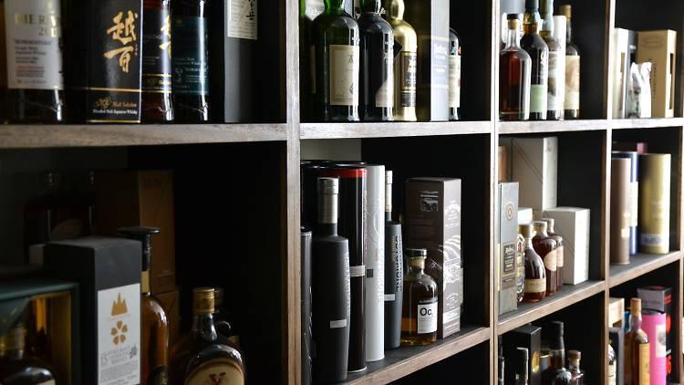 Whisky selection on the shelves at Melbourne bar Melbourne Whisky Room