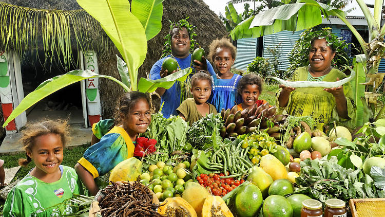 New Caledonian locals with fruit vegetables – commercial