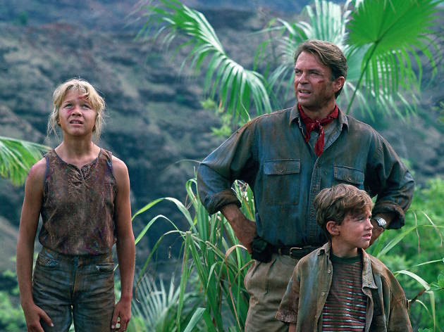 Scene from Jurassic Park: Ariana Richards, Sam Neil and Joseph Mazzello