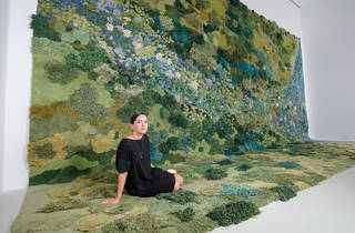 NGV Triennial 2017 announcement photo 27 Feb 2017 feat artist Alexandra Kehayoglou with her work No Longer Creek 2016 photographer credit Wayne Taylor