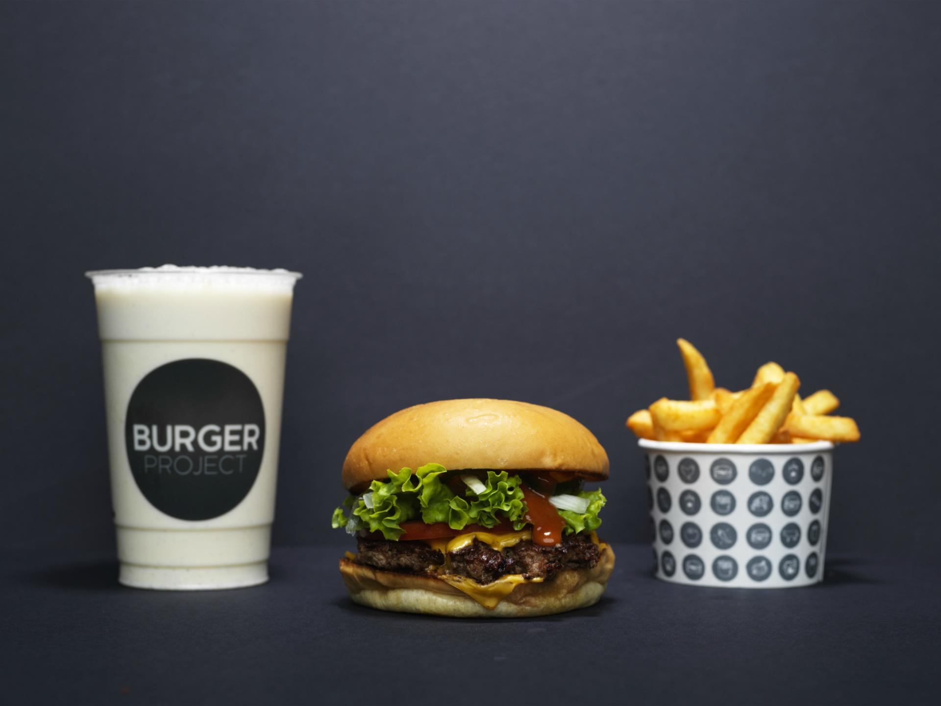 a burger, fries and drink