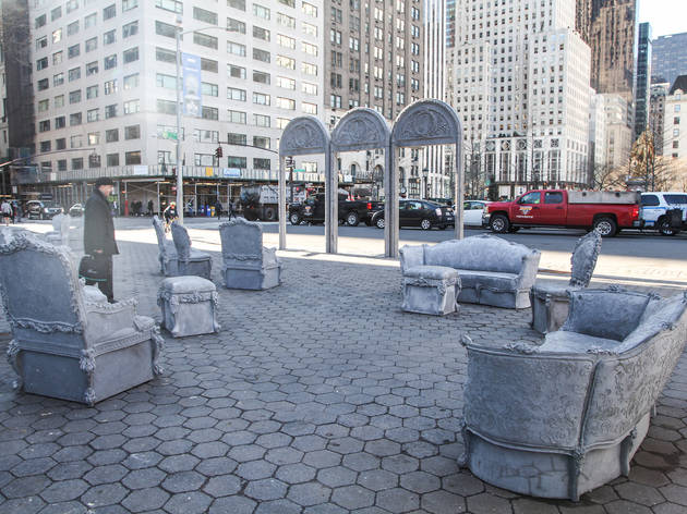 A bunch of antique furniture has been installed in Central Park