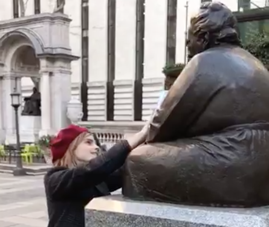 Emma Watson hid feminist books at statues of iconic women in NYC today