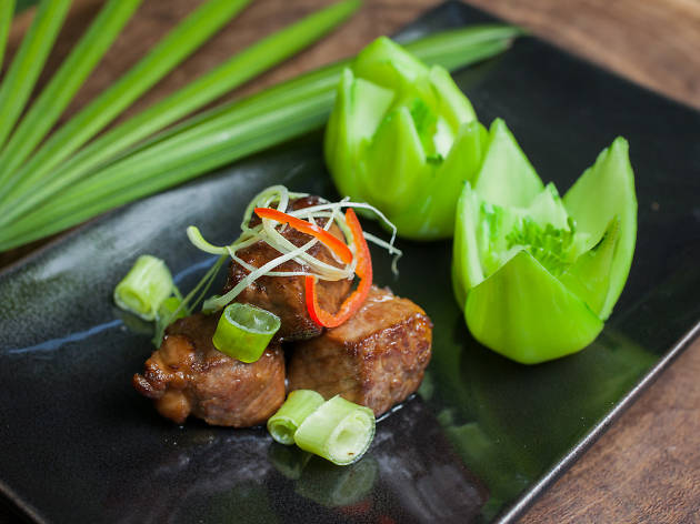 Duddell's pan-fried M9 wagyu beef with scallion soy sauce