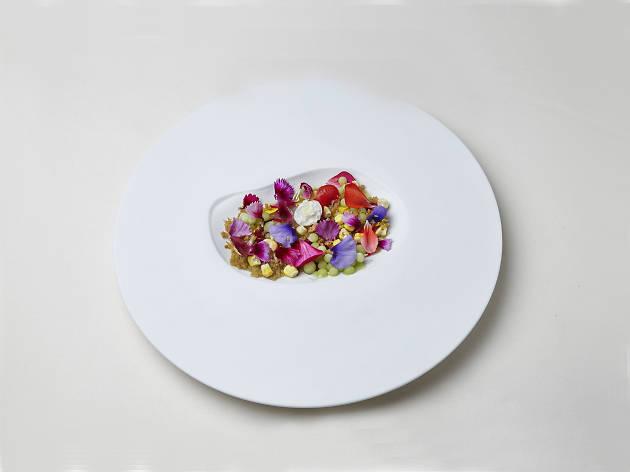 Ceviche de gamba da costa com flores do Beco Cabaret Gourmet