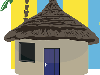 Ghana, beach hut travel feature illustration