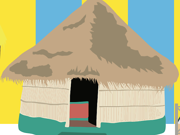 Mozambique, beach hut travel feature illustration