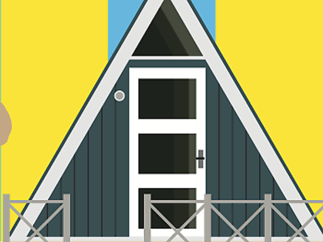 Denmark, beach hut travel feature illustration