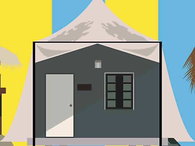 Fiji, beach hut travel feature illustration