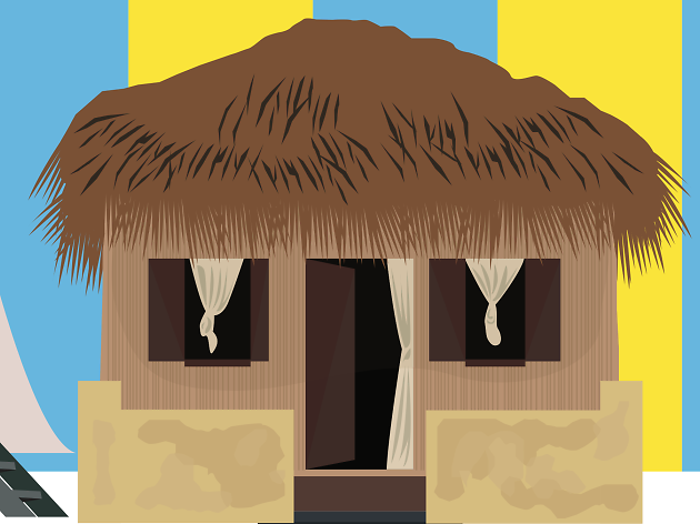 India, beach hut travel feature illustration