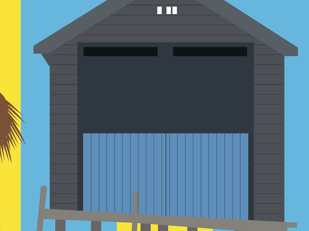 UK, beach hut travel feature illustration
