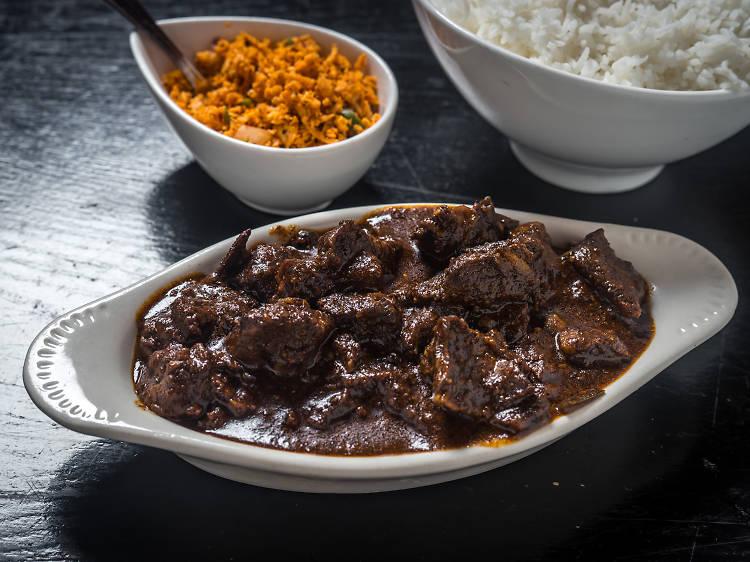 New York, NY: Black pork curry at Sigiri