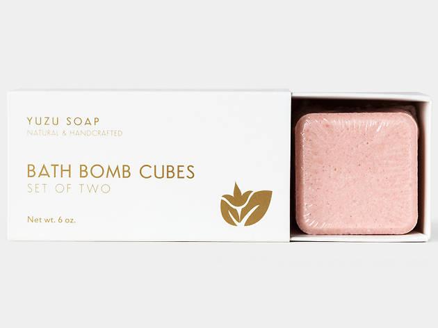 Bath bomb set, aloe vera soap bars and gift certificate from Yuzu Soap, $104