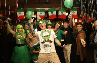 Syd Kiernan (middle) with friends celebrating St Patrick's Day at P.J.O'Brien's Southgate. March 17, 2016. Picture by Fotogroup