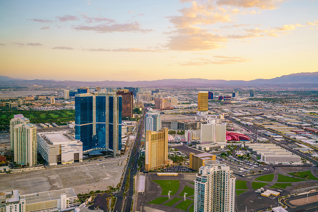Aerial view of Las Vegas strip in Nevada USA