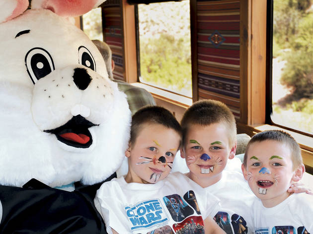 Generic Easter Bunny on train with kids