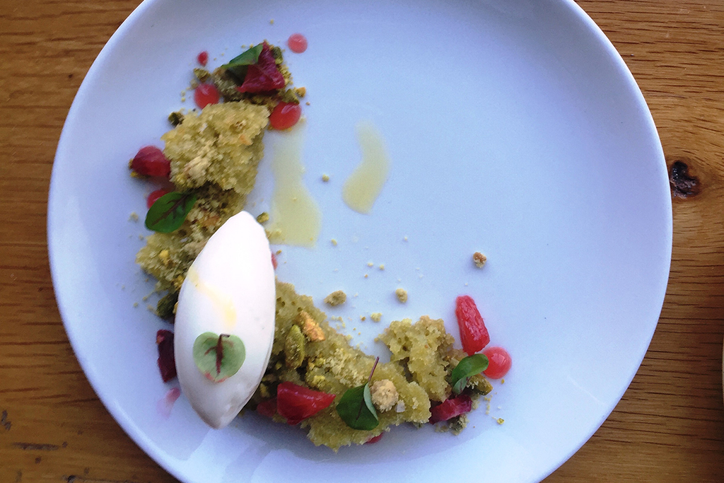 Pistachio olive oil cake at SRV