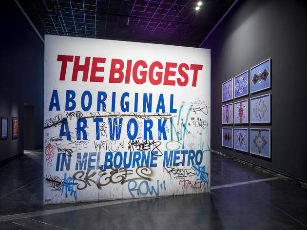 Sovereignty 2017 Australian Centre for Contemporary Art installation view 01 feat Steven Rhall 'The biggest Aboriginal artwork in Melbourne metro' 2014-16 photographer credit Andrew Curtis (c) ACCA