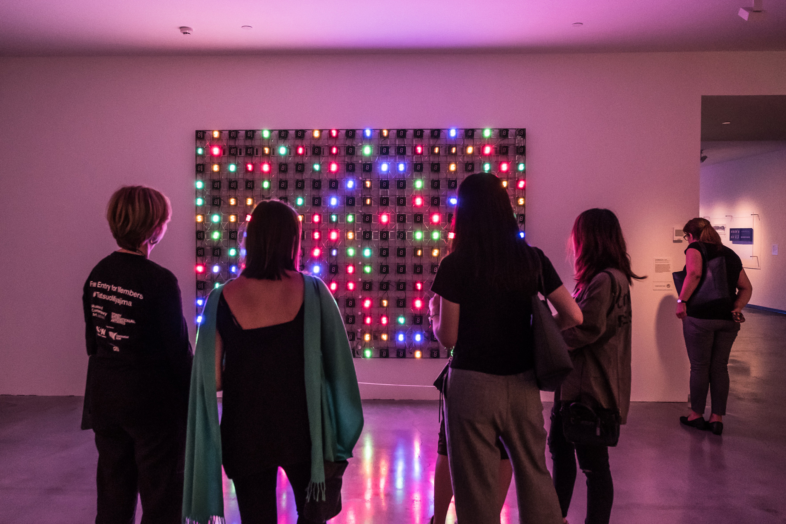 MCA Artbar 2016 Fri October 28 Megan Cope edition image feat installation view Tatsuo Miyajima Connect With Everything November 3 2016 (c) MCA photographer credit Leslie Liu